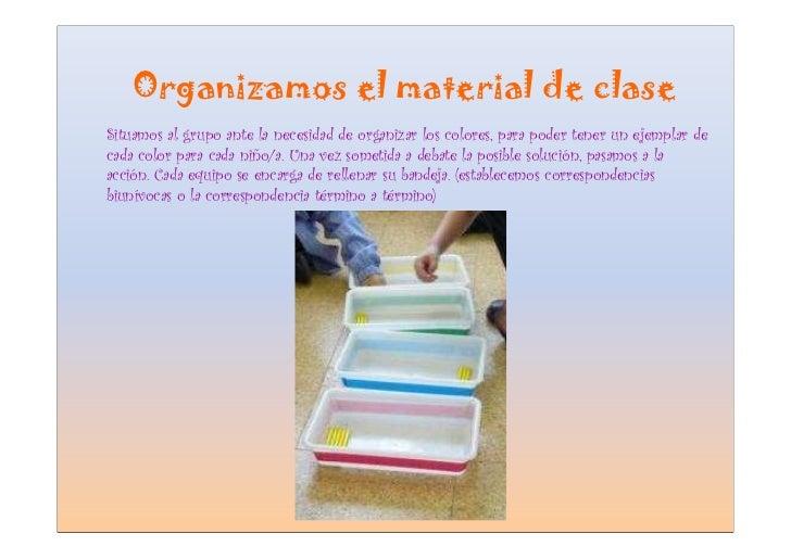 Organizamos el material de clase Situamos al grupo ante la necesidad de organizar los colores, para poder tener un ejempla...