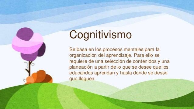 CognitivismoSe basa en los procesos mentales para laorganización del aprendizaje. Para ello serequiere de una selección de...