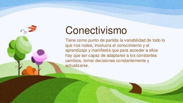 ConectivismoTiene como punto de partida la variabilidad de todo loque nos rodea, involucra el conocimiento y elaprendizaje...