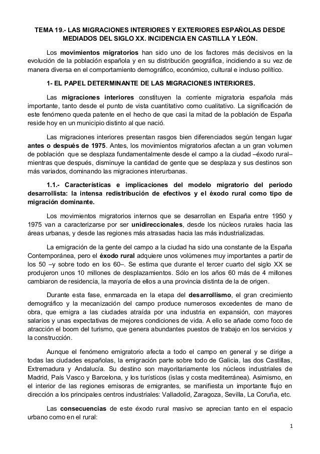 TEMA 19.- LAS MIGRACIONES INTERIORES Y EXTERIORES ESPAÑOLAS DESDE MEDIADOS DEL SIGLO XX. INCIDENCIA EN CASTILLA Y LEÓN. Lo...