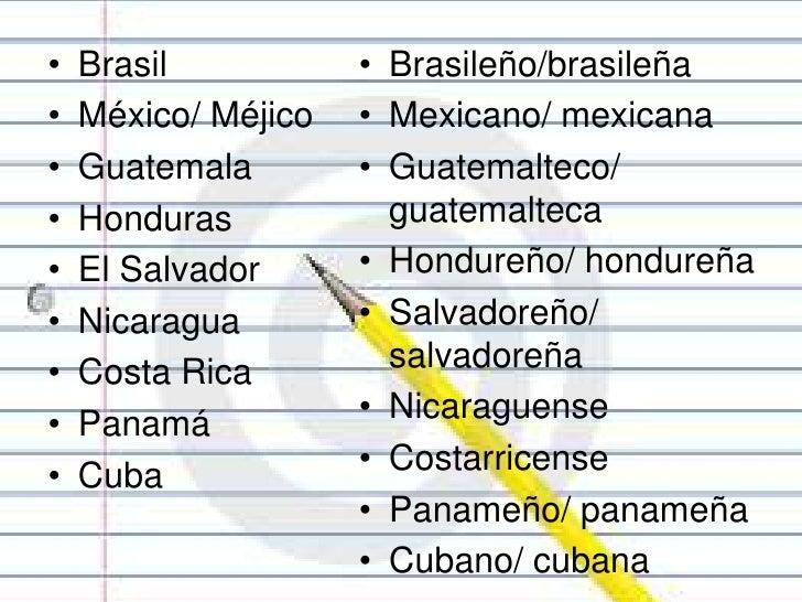 Mundo Intercultural Países Y Nacionalidades En Español: Las Nacionalidades