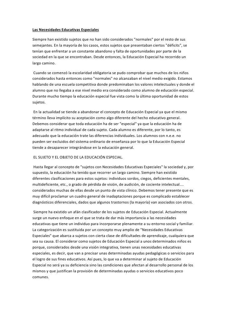 """Las Necesidades Educativas EspecialesSiempre han existido sujetos que no han sido considerados """"normales"""" por el resto de ..."""