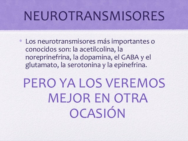 NEUROTRANSMISORES• Los neurotransmisores más importantes oconocidos son: la acetilcolina, lanoreprinefrina, la dopamina, e...