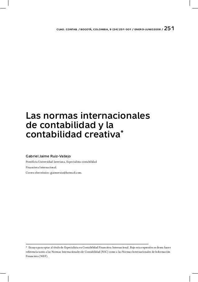 Las nic y la contabilidad creativa gjr, trabajo de grado publicado …