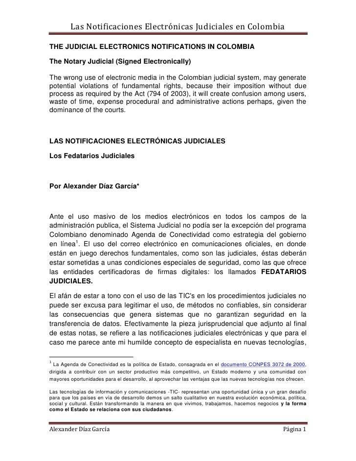 Las Notificaciones Electrónicas Judiciales en ColombiaTHE JUDICIAL ELECTRONICS NOTIFICATIONS IN COLOMBIAThe Notary Judicia...