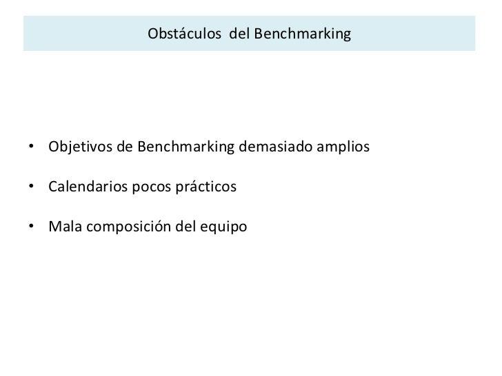 Benchmarking Funcional  <br /><ul><li>Identificar  productos, servicios y procesos de empresas no necesariamente de compet...
