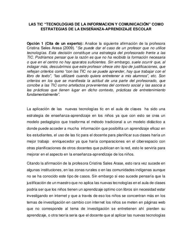 """LAS TIC """"TECNOLOGIAS DE LA INFORMACION Y COMUNICACIÓN"""" COMO ESTRATEGIAS DE LA ENSEÑANZA-APRENDIZAJE ESCOLAR Opción 1 (Cita..."""