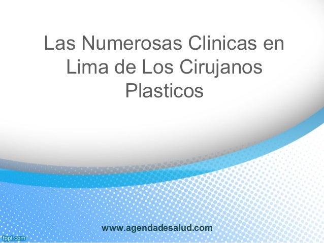 Las Numerosas Clinicas en Lima de Los Cirujanos Plasticos www.agendadesalud.com