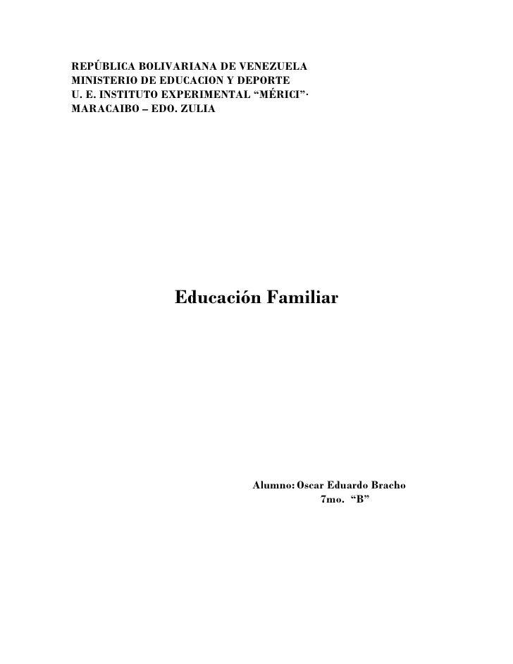 """REPÚBLICA BOLIVARIANA DE VENEZUELAMINISTERIO DE EDUCACION Y DEPORTEU. E. INSTITUTO EXPERIMENTAL """"MÉRICI""""·MARACAIBO – EDO. ..."""