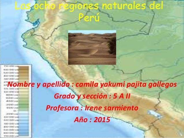 Las ocho regiones naturales del Perú Nombre y apellido : camila yakumi pajita gallegos Grado y sección : 5 A II Profesora ...