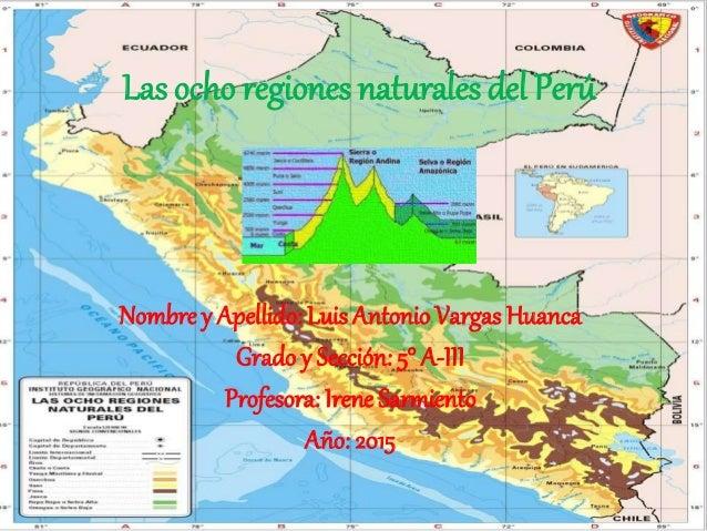 Las ocho regiones naturales del Perú Nombre y Apellido: Luis Antonio Vargas Huanca Grado y Sección: 5° A-III Profesora: Ir...