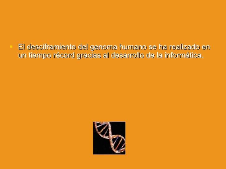 <ul><li>El desciframiento del genoma humano se ha realizado en un tiempo récord gracias al desarrollo de la informática. <...