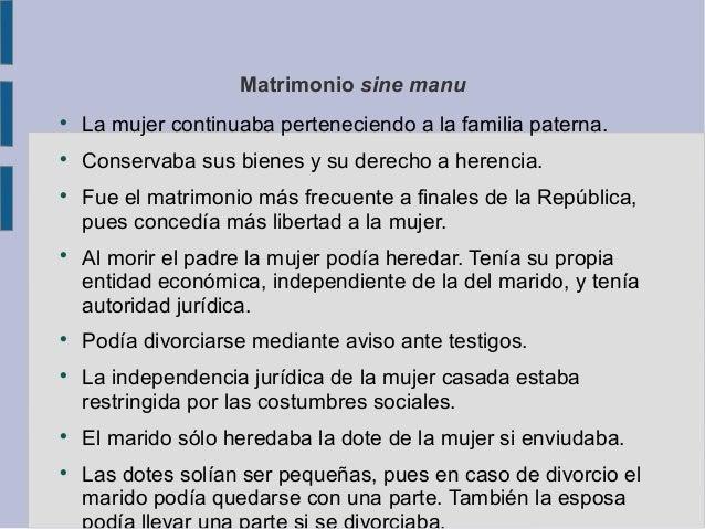 Derecho Romano Matrimonio Sine Manu : La sociedad romana