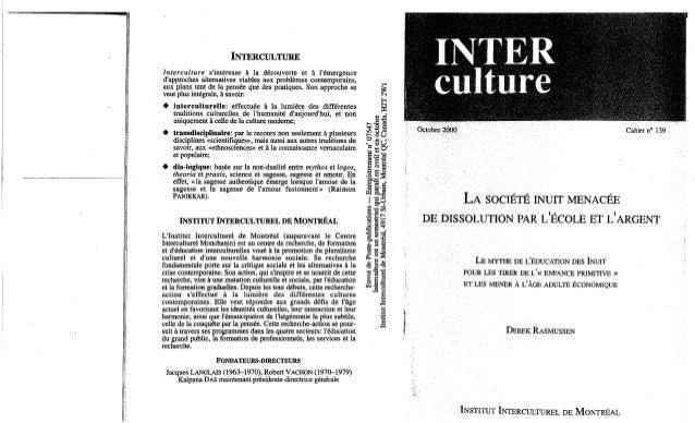 139-La société inuit menacée de dissolution par l'école et l'argent. D. Rasmussen. (document à télécharger en format PDF, ...