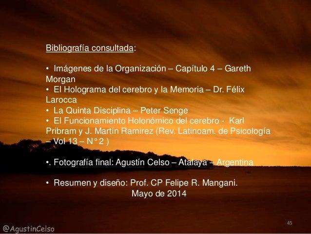 Bibliografía consultada: • Imágenes de la Organización – Capítulo 4 – Gareth Morgan • El Holograma del cerebro y la Memori...