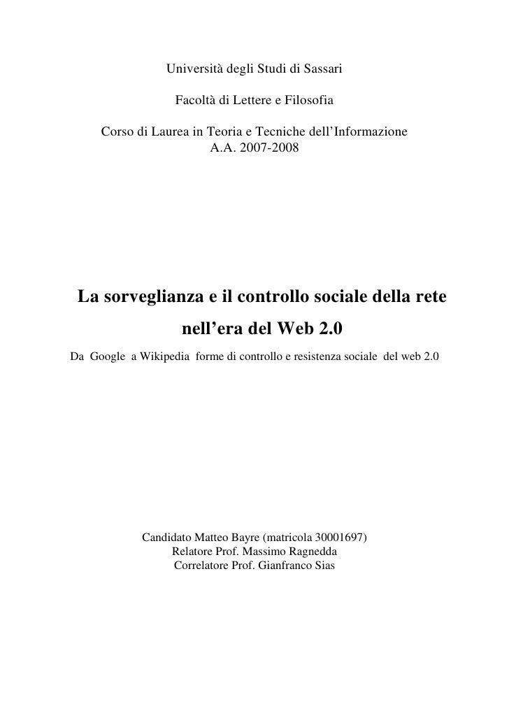 Università degli Studi di Sassari                      Facoltà di Lettere e Filosofia        Corso di Laurea in Teoria e T...