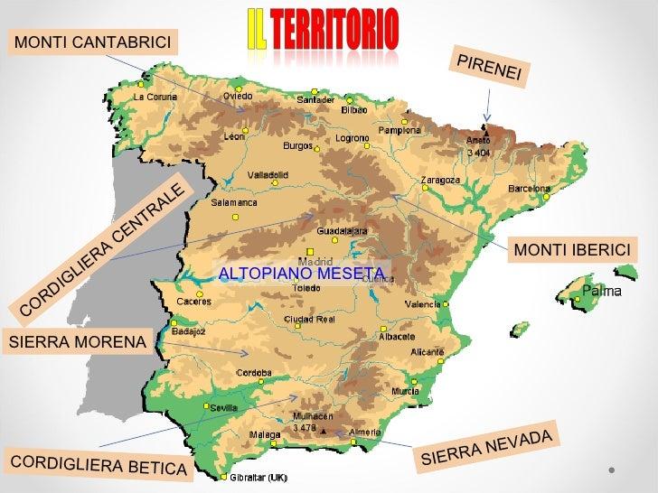 Cartina Rilievi Spagna.Spagna
