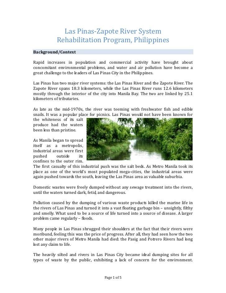 Las Pinas-Zapote River System             Rehabilitation Program, PhilippinesBackground/ContextRapid increases in populati...