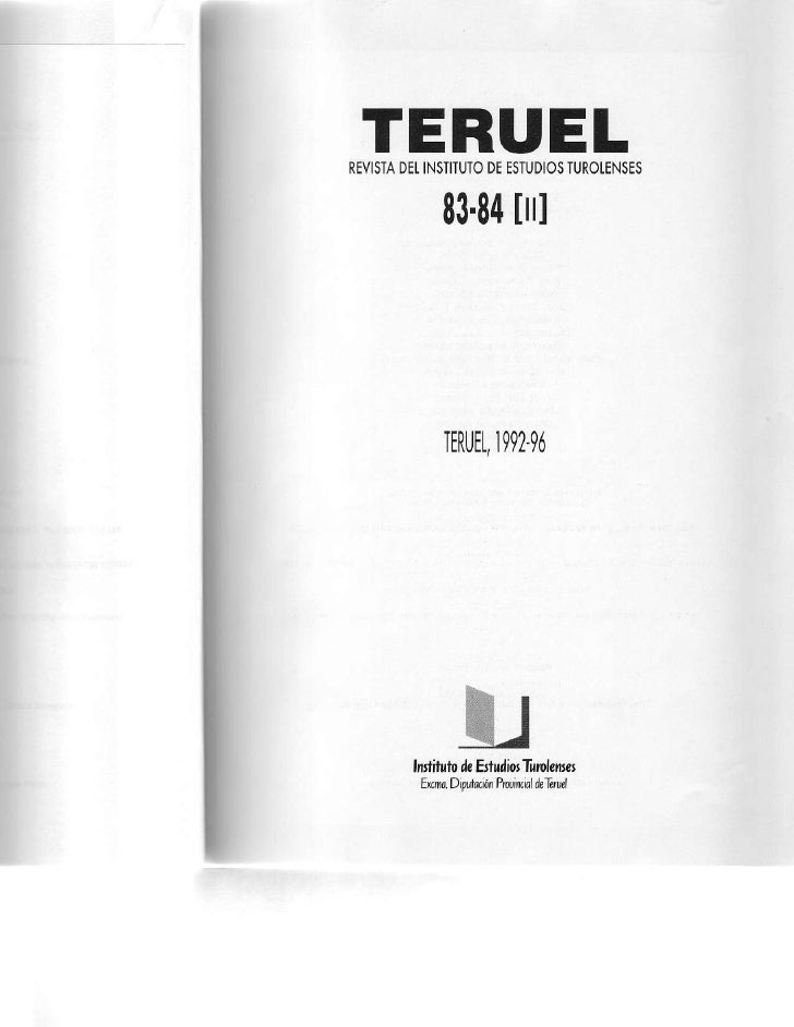 TERUELREVISTAINSTITUTO     DEt     DEESTUDIOS                    TUROLENSES         8384            [ll]         TERUEt,  ...
