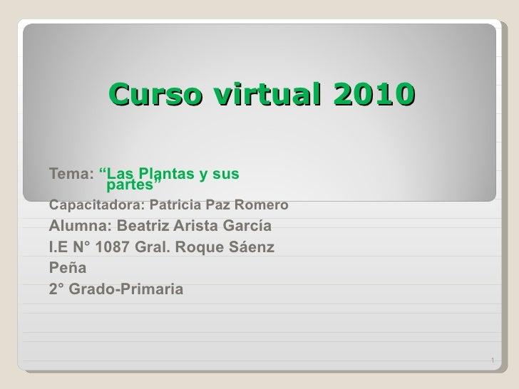 """Curso virtual 2010 Tema:  """"Las Plantas y sus  partes"""" Capacitadora: Patricia Paz Romero  Alumna: Beatriz Arista García  I...."""