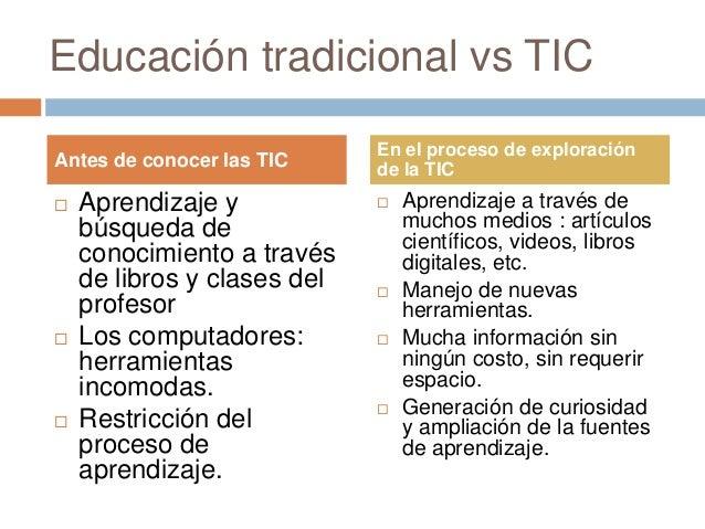 Educación tradicional vs TIC  Aprendizaje y búsqueda de conocimiento a través de libros y clases del profesor  Los compu...