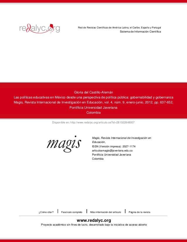 Red de Revistas Científicas de América Latina, el Caribe, España y Portugal  Sistema de Información Científica  Gloria del...