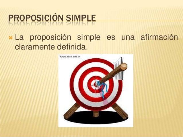 PROPOSICIÓN SIMPLE La proposición simple es una afirmaciónclaramente definida.