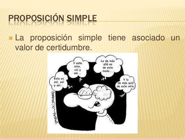 PROPOSICIÓN SIMPLE La proposición simple tiene asociado unvalor de certidumbre.