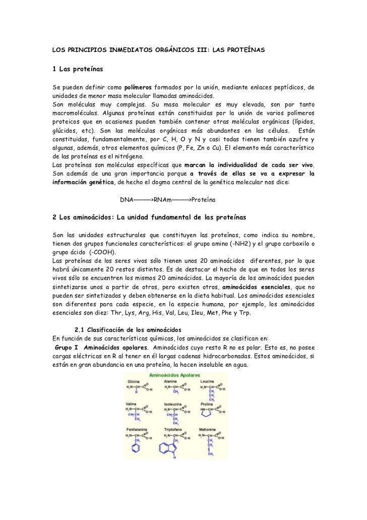 LOS PRINCIPIOS INMEDIATOS ORGÁNICOS III: LAS PROTEÍNAS1 Las proteínasSe pueden definir como polímeros formados por la unió...