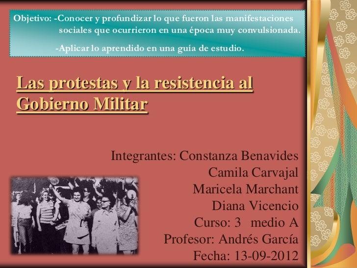 Objetivo: -Conocer y profundizar lo que fueron las manifestaciones           sociales que ocurrieron en una época muy conv...