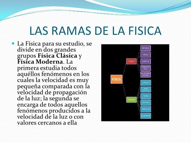 LAS RAMAS DE LA FISICA<br />La Física para su estudio, se divide en dos grandes grupos Física Clásica y Física Moderna. La...