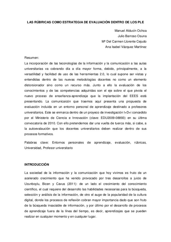 LAS RÚBRICAS COMO ESTRATEGIA DE EVALUACIÓN DENTRO DE LOS PLE                                                              ...
