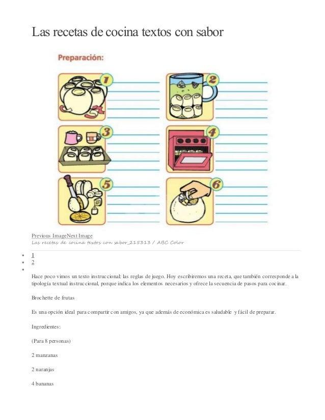 Las recetas de cocina textos con sabor  Previous ImageNext Image  Las recetas de cocina textos con sabor_215313 / ABC Colo...
