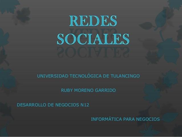 UNIVERSIDAD TECNOLÓGICA DE TULANCINGO RUBY MORENO GARRIDO DESARROLLO DE NEGOCIOS N12 INFORMÁTICA PARA NEGOCIOS