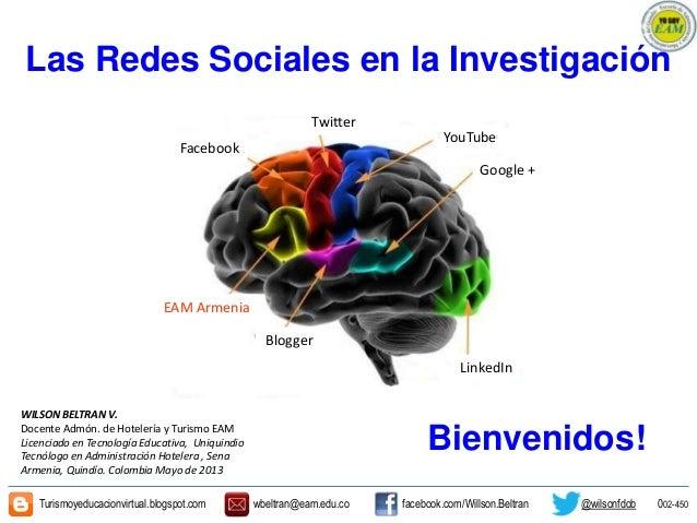 Las Redes Sociales en la InvestigaciónWILSON BELTRAN V.Docente Admón. de Hotelería y Turismo EAMLicenciado en Tecnología E...