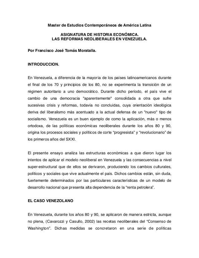 Master de Estudios Contemporáneos de América Latina ASIGNATURA DE HISTORIA ECONÓMICA. LAS REFORMAS NEOLIBERALES EN VENEZUE...