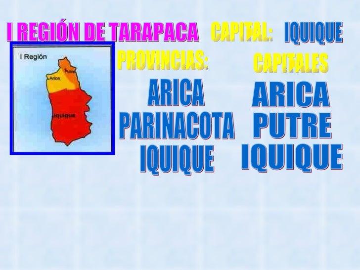 I REGIÓN DE TARAPACA CAPITAL: IQUIQUE PROVINCIAS: ARICA PARINACOTA IQUIQUE CAPITALES ARICA  PUTRE IQUIQUE