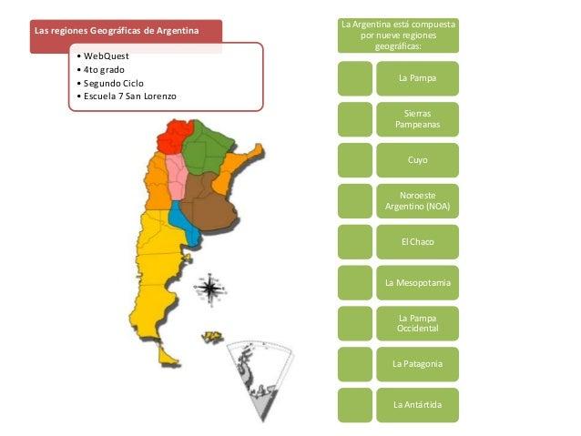 La Argentina está compuestapor nueve regionesgeográficas:La PampaSierrasPampeanasCuyoNoroesteArgentino (NOA)El ChacoLa Mes...