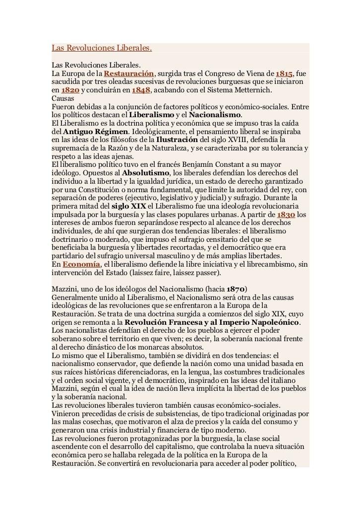 Las Revoluciones Liberales.  Las Revoluciones Liberales. La Europa de la Restauración, surgida tras el Congreso de Viena d...