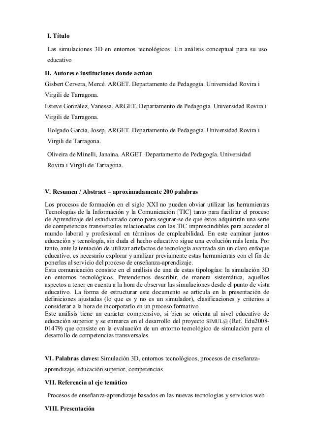 I. Título Las simulaciones 3D en entornos tecnológicos. Un análisis conceptual para su uso educativo II. Autores e institu...