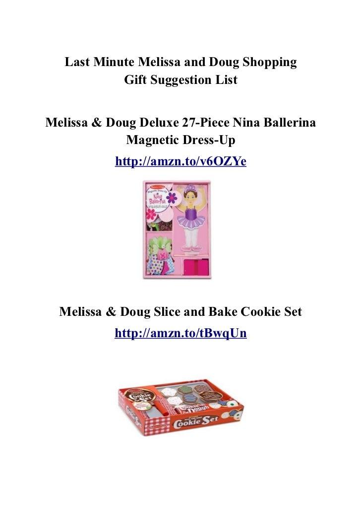 Last Minute Melissa and Doug Shopping            Gift Suggestion ListMelissa & Doug Deluxe 27-Piece Nina Ballerina        ...