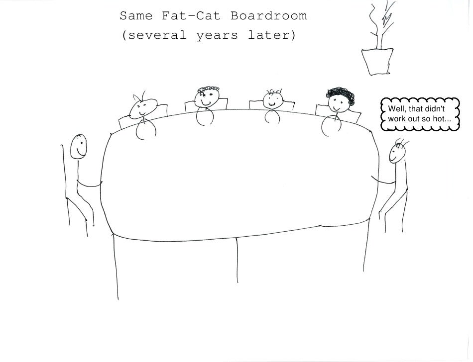 Same Fat-Cat Boardroom(several years later)                         Well, that didnt                         work out so h...