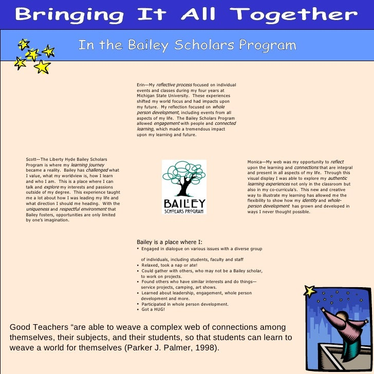 "Bringing It All Together In the Bailey Scholars Program Good Teachers ""are able to weave a complex web of connections amon..."