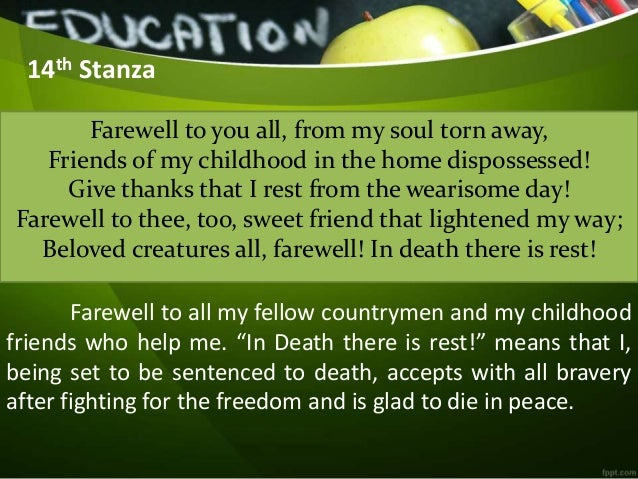 15 14th stanza farewell to you