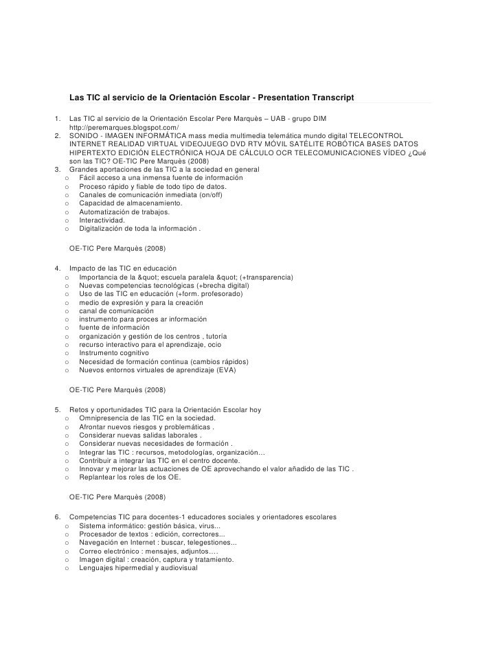 Las TIC al servicio de la Orientación Escolar - Presentation Transcript<br />Las TIC al servicio de la Orientación Escolar...
