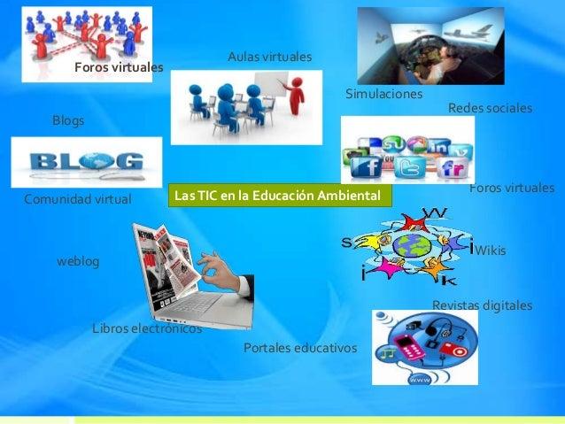 LasTIC en la Educación Ambiental Foros virtuales Aulas virtuales Simulaciones Redes sociales Foros virtuales Wikis Revista...