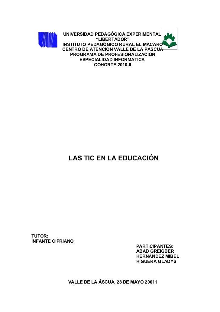 "UNIVERSIDAD PEDAGÓGICA EXPERIMENTAL                        ""LIBERTADOR""           INSTITUTO PEDAGÓGICO RURAL EL MACARO    ..."