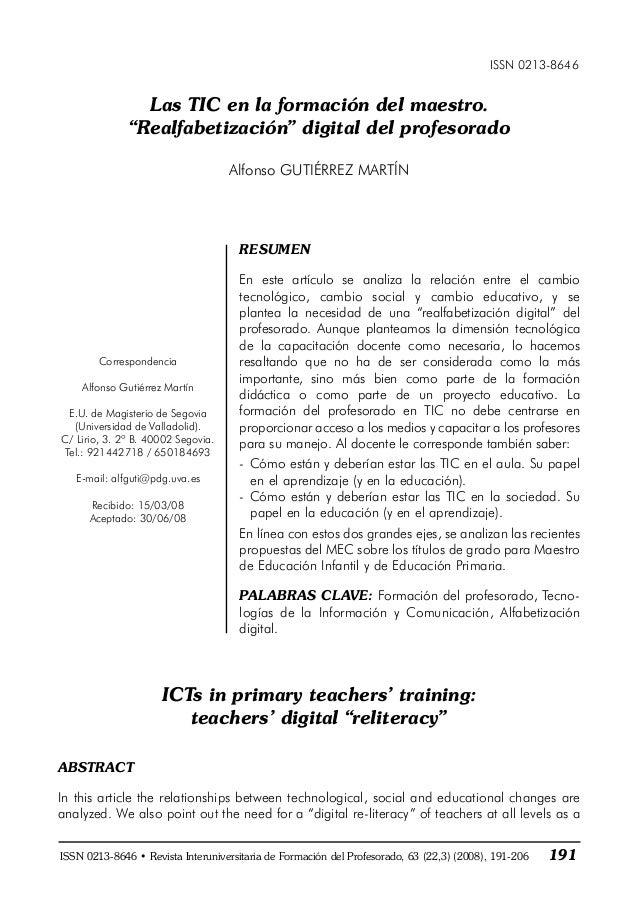 """ISSN 0213-8646 Las TIC en la formación del maestro. """"Realfabetización"""" digital del profesorado Alfonso GUTIÉRREZ MARTÍN RE..."""