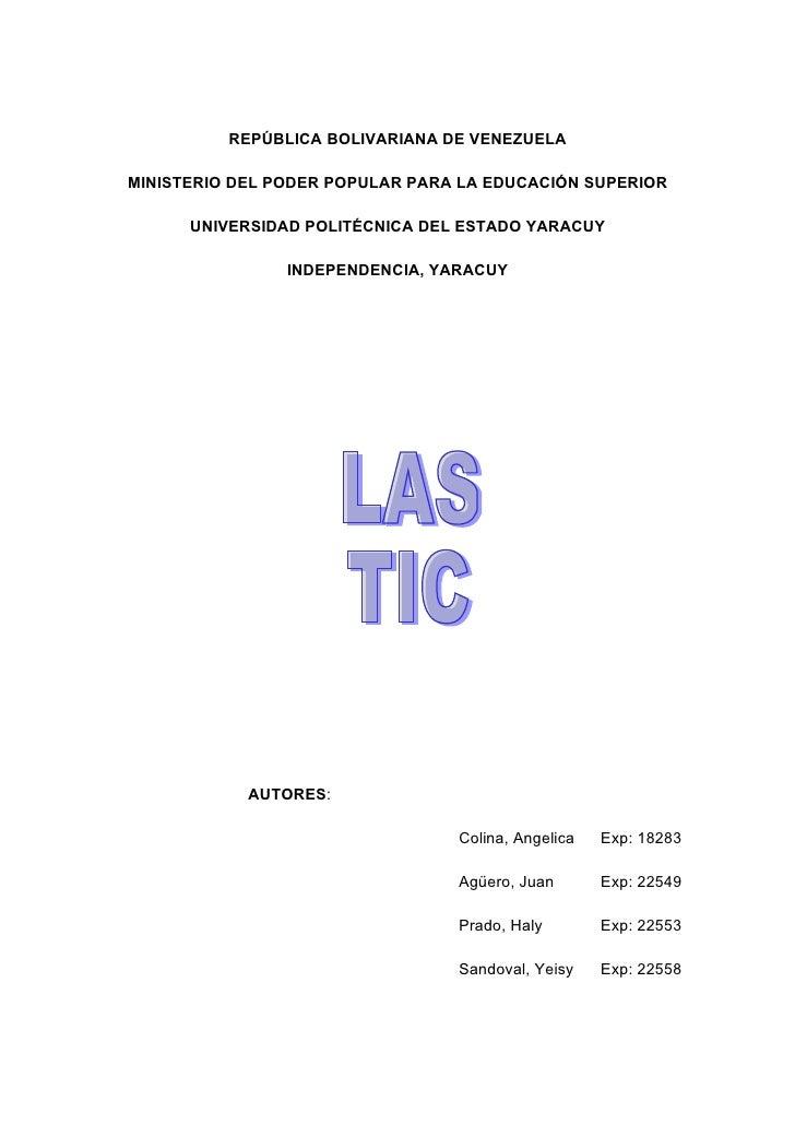 REPÚBLICA BOLIVARIANA DE VENEZUELA  MINISTERIO DEL PODER POPULAR PARA LA EDUCACIÓN SUPERIOR        UNIVERSIDAD POLITÉCNICA...