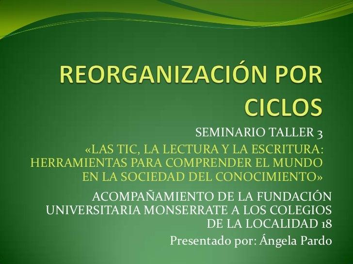 REORGANIZACIÓN POR CICLOS<br />SEMINARIO TALLER 3<br />«LAS TIC, LA LECTURA Y LA ESCRITURA: HERRAMIENTAS PARA COMPRENDER E...